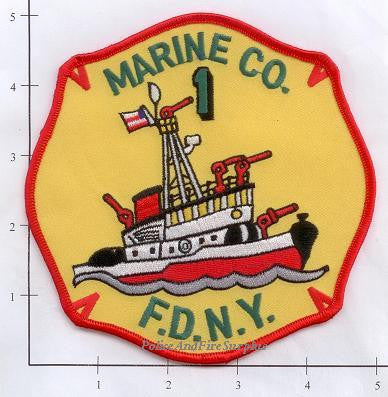 New York City Marine 1 Fire Dept Patch v6 Yellow