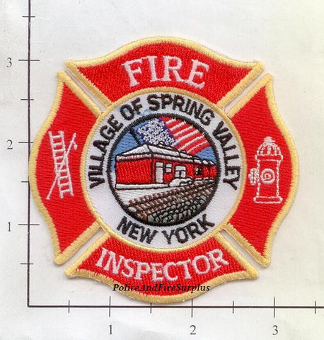 New York - Spring Valley Fire Inspector Fire Dept Patch v2 Fully Embroidered