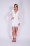 White Dry lake Flowerly sleeve short dress
