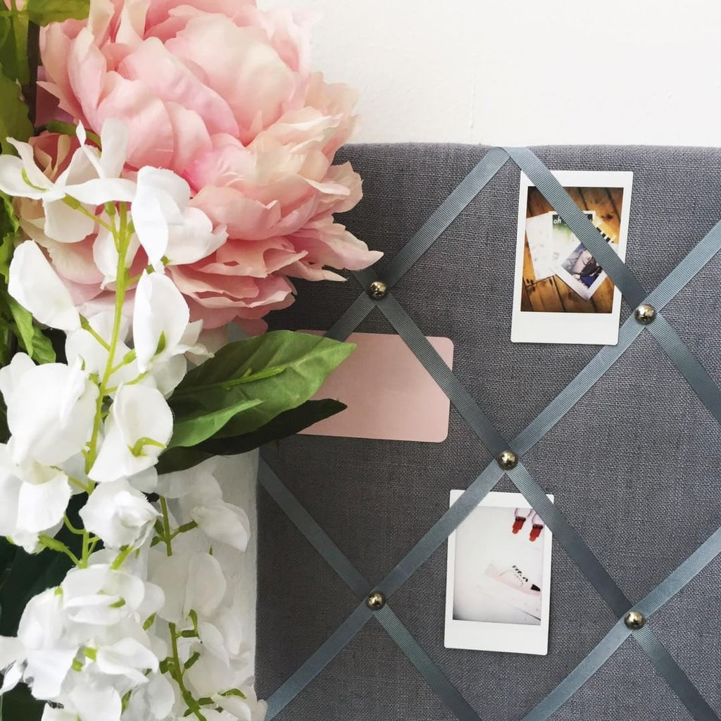 Romantic Flowers Against Dark Grey Linen Memo Board NoticeBoardStore.com