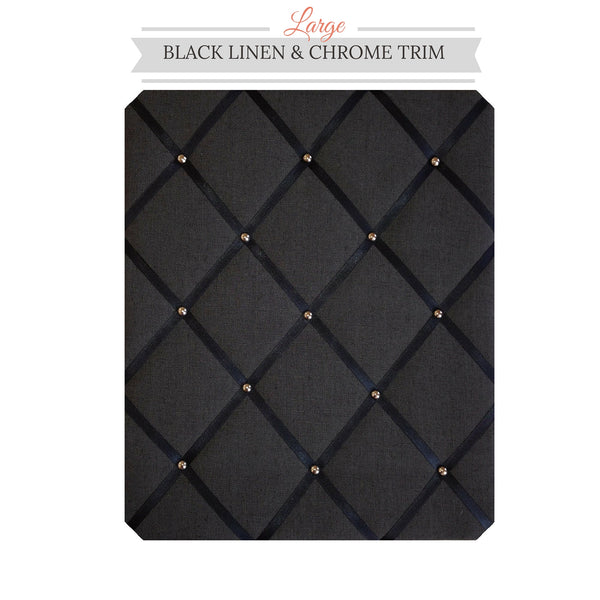 Black Linen Chrome Trim Memo Message Bulletin Board