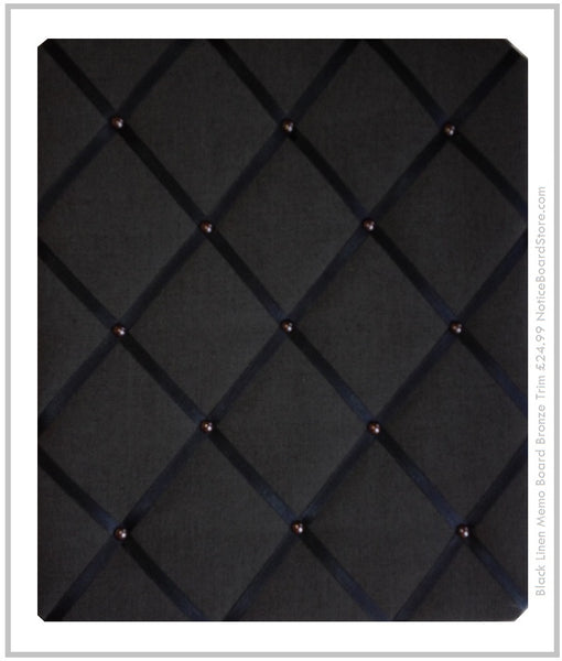 Black Linen Memo Board Bronze Trim Mens Message Board www.NoticeBoardStore.com