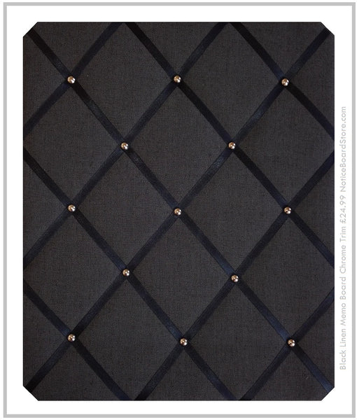 Black Linen Fabric Memo Board Chrome Studs £24.99 www.NoticeBoardStore.com