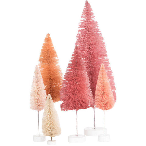 Cody Foster & Co Rainbow Christmas Trees Ornament - Set of 6 - Pink