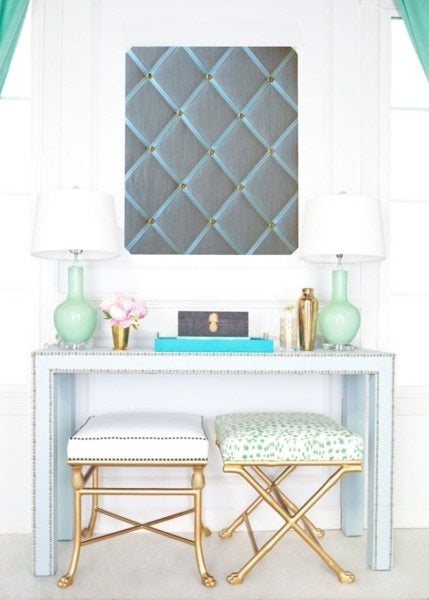 Duck Egg Blue Linen Message Board with Dressing Table & Gold Stools