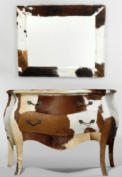 Cow Hide Louis XV style Drawers and Mirror - Top 5 Cow Hide Decorating Ideas - NoticeBoardStore.com