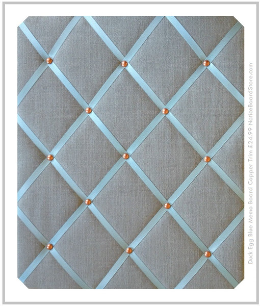 Duck Egg Blue Linen Bulletin Board with Copper Studwork £24.99 NoticeBoardStore.com