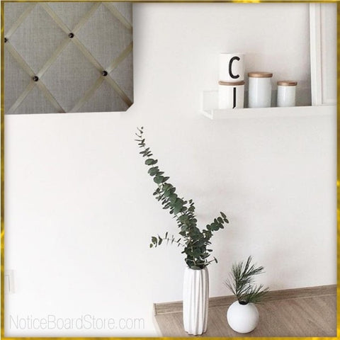 Eucalyptus Sprigs in Kitchen with Gold Linen Memo Board. NoticeBoardStore.com