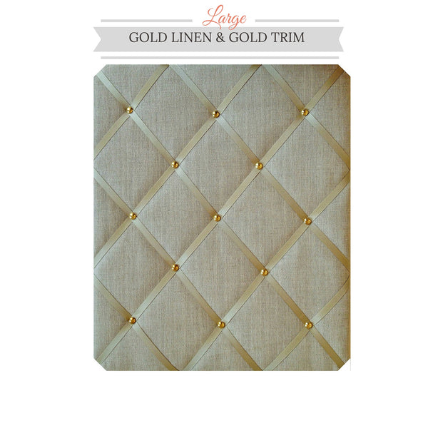 Gold Linen Memo Board with Gold ribbon & gold studwork