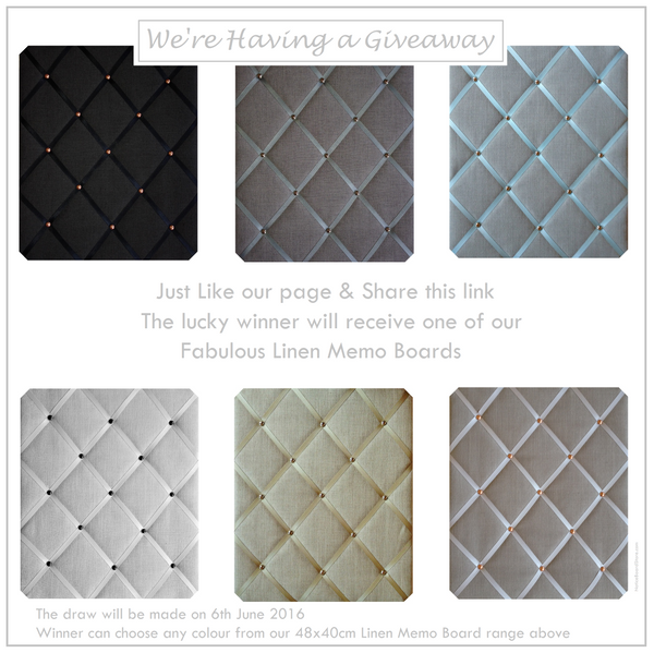 Having a Giveaway Like our facebook page to enter draw win Linen Memo Board