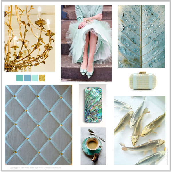Duck Egg Blue and Gold Mood Board Colour ideas Glamour Interiors Office NoticeBoardStore.com