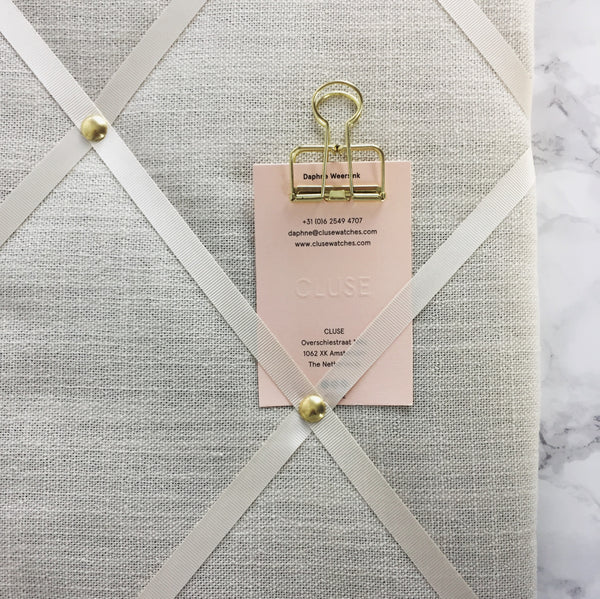 Ivory Linen Hand Made Fabric Memo Board NoticeBoardStore