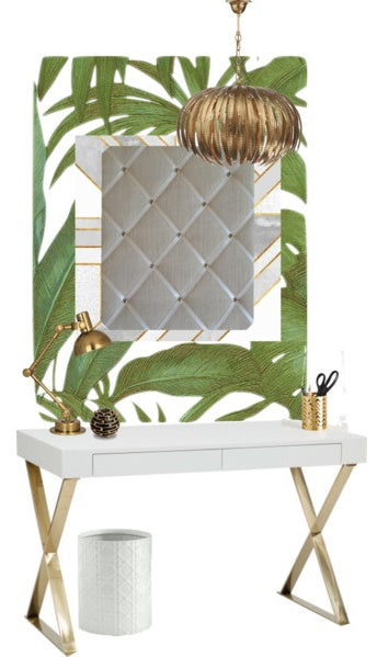 Ivory Notice Board with white & gold desk, tropical palm wallpaper