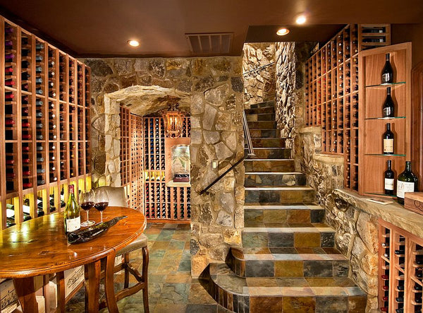 Wine cellar with stone stairs and tasing table Top 5 favourite tasting room NoticeBoardStore.com