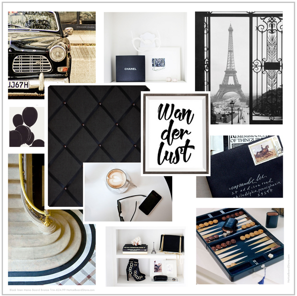 Wanderlust Dreaming of Weekend Trip Paris Black White Bronze Mood Board Colour Inspiration