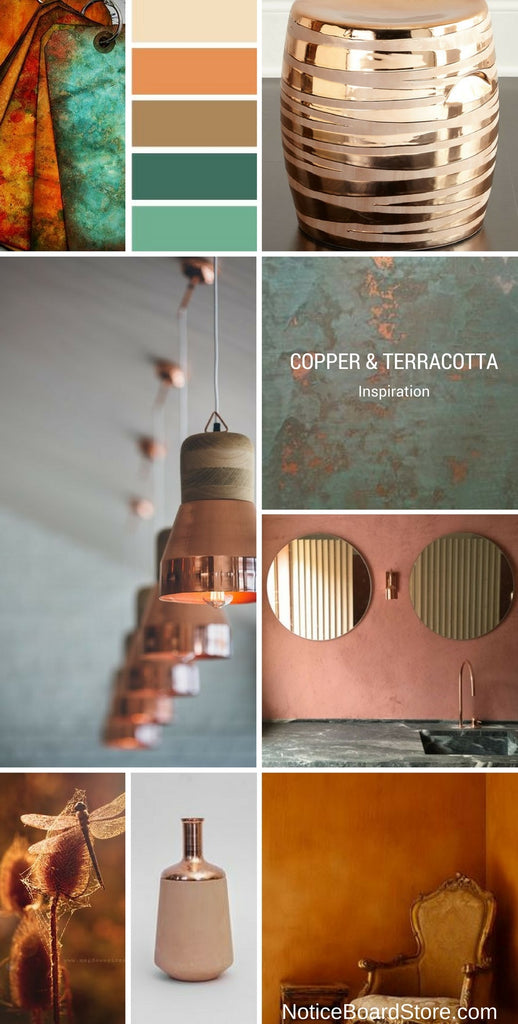 Copper and Terracotta Decorating colour inspiration NoticeBoardStore.com/Blogs/News