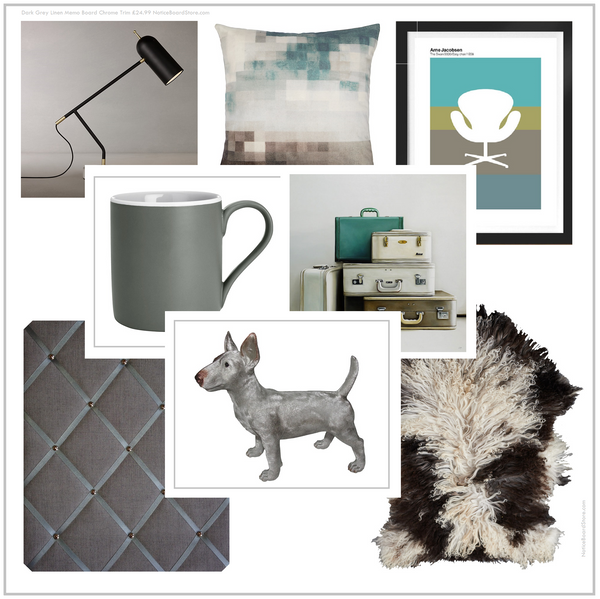 Scandi Inspired Interior Decor Mood Board Stormy Skies Grey Blue NoticeBoardStore.com