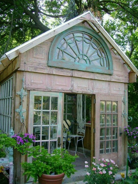 wooden garden she shed duck egg blue outdoor girl space NoticeBoardStore.com