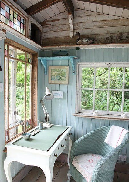 Our favourite She Sheds writing shed Duck Egg Blue NoticeBoardStore.com