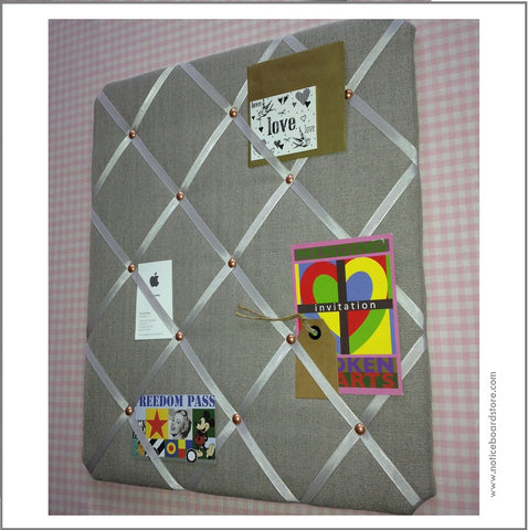 grey linen memo board on trend copper trim organise your paperwork