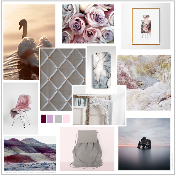 Dreamy Shades of pink grey heather aubergine Grey Linen Memo board Mood Board