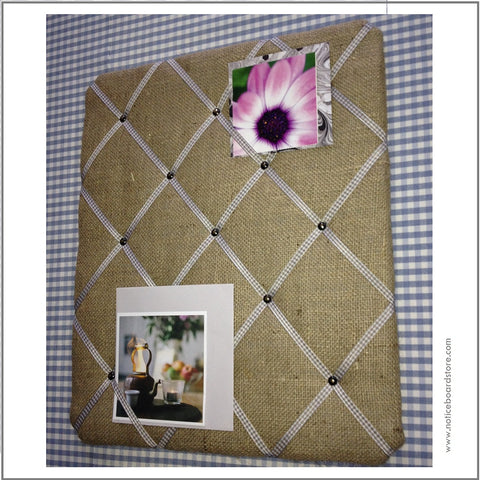 Hessian Burlap memo board with gingham ribbon to organise your home office