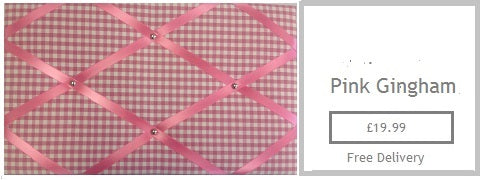 pink gingham fabric memo memo board