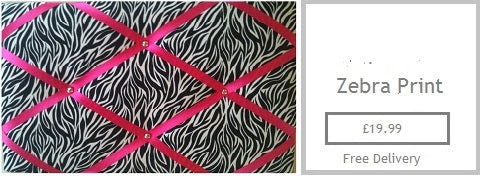 zebra print fabric memo board gifts for her mam mum sister nan girlfreind