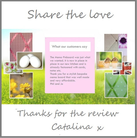 customer review share the love for fabric memo board from The Notice Board Store