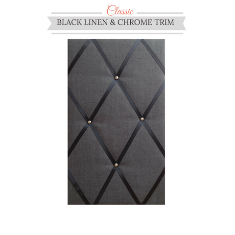 Classic Black Linen Chrome Bulletin Board Ribbon Board