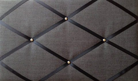 Black & Chrome Linen Fabric Memo Board