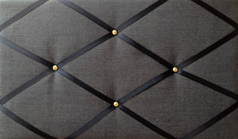 Black Linen Gold Fabric Memo Board NoticeBoardStore.com
