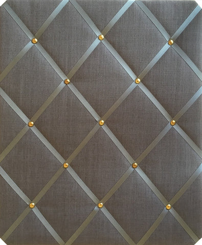 Dark Grey Gold Trim Linen Memo Board Size Large