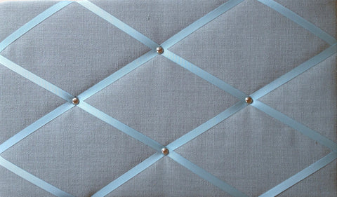 Duck Egg Blue & Chrome Linen Memo Board Notice Board Store