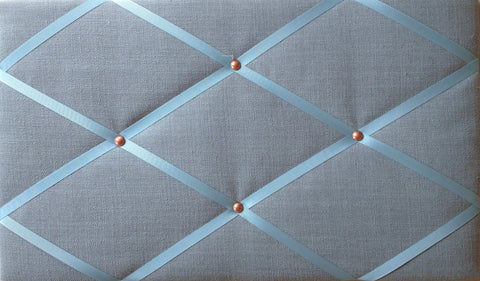 Duck Egg Blue & Copper Linen Memo Board Notice Board Store