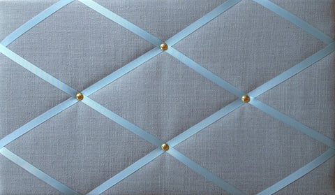 Duck Egg Blue & Gold Linen Memo Board Notice Board Store