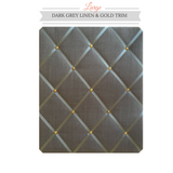 Dark Grey Gold Trim Linen Message Board Bulletin Board