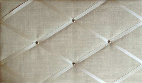 Ivory Cream Linen Memo Board with Chrome Studs