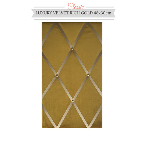 Slimline Rich Gold Velvet Memo Message Bulletin Notice Board