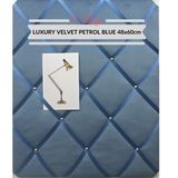 Peacock Blue Velvet Extra Large XL Memo Message Bulletin Board Pinboard