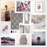Grey pink heather aubergine colour mood board Interior Decorating Ideas
