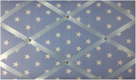 Baby Blue White Stars Memo Board - The Notice Board Store - 1
