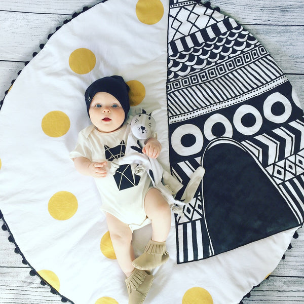 Teepee Playmat Henry & Pop handmade baby rattle play mat tummy time baby gift newborn