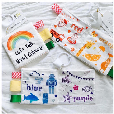 Fabric Baby Book Handmade Organic Cotton Nontoxic dyes Learn about colours sensory play tabs use on playgym playmat travelling