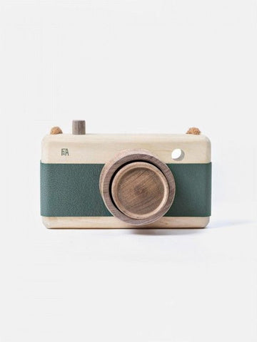 Wooden + Leather Camera | Teal