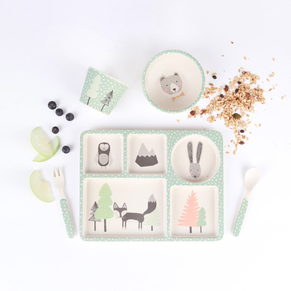 Fox & Friends in the Forest | 5 Piece Bamboo Dinner Set