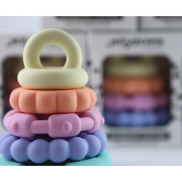 Baby Teething Stacker Toy Rainbow Colours Sensory Play