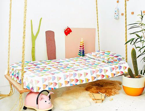 Toddler Bed Duvet + Pillow Case Set | Rainbow Mountain