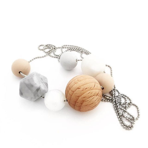 LINA Silicone + Beech Wood Necklace