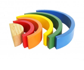 Hollow Natural + Rainbow | Wooden Blocks Set